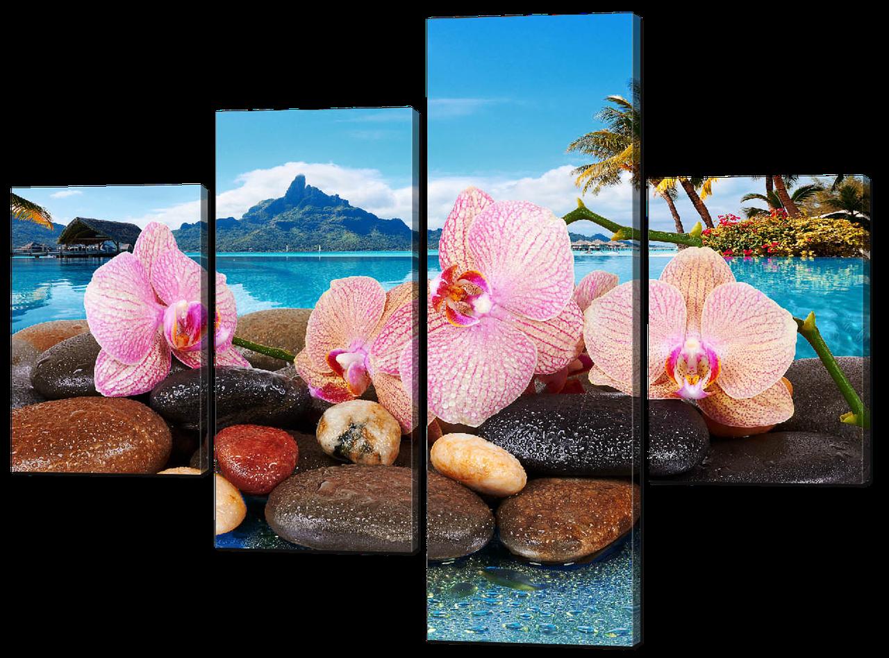 Модульная картина Нежные орхидеи на фоне моря и гор