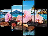 Модульная картина Нежные орхидеи на фоне море и гор