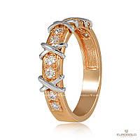 "Золотое кольцо с бриллиантами ""Тиффани"", комбинированное золото, КД7539"