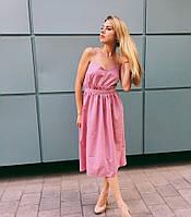 Платье по колено с рюшей на талии хлопок