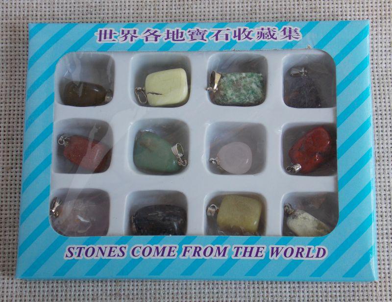 Набор подвесок из натурального камня (12 шт). Набор камней