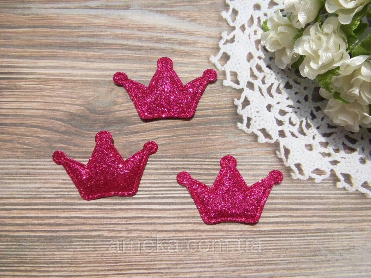 Патч корона глиттер 4,7*2,9 см (ярко розовая)