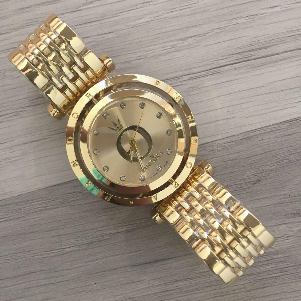Женские наручные часы Pandora (Пандора), золотой корпус и циферблат ( код: IBW122Y )