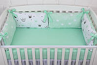 """Детская постель с 4 бортиками-подушками 33*60 см и простынкой """"Мятные короны"""""""
