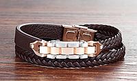 Мужской двойной кожаный браслет сталь 316L позолота 18К