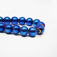 Стеклянная бусина 8мм гладкая с гальваническим покрытием для рукоделия цвет синий