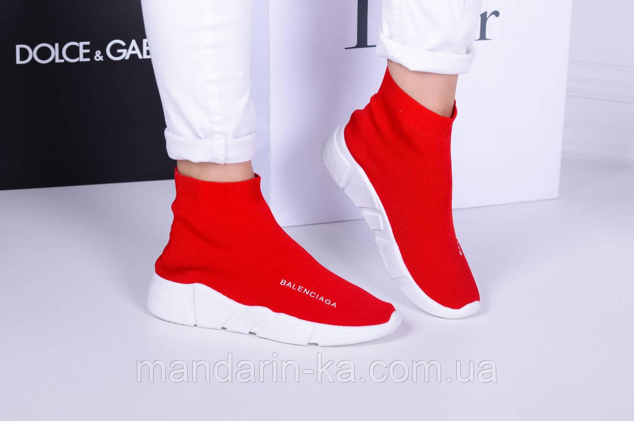 Женские  кроссовки красные  Баленсиага высокие