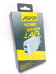 Сетевое зарядное устройство Aspor A829 2USB/2.4A (блок) white