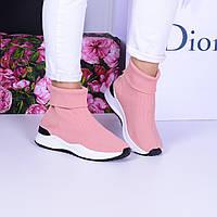 Женские кроссовки розовые  текстильные высокие вязаные, фото 1