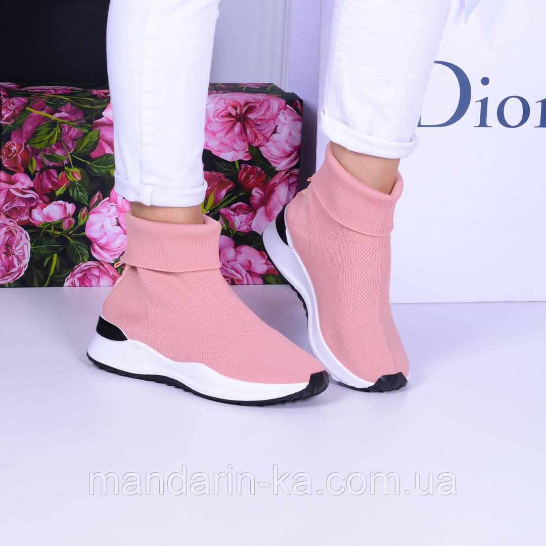 Женские кроссовки розовые  текстильные высокие вязаные