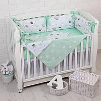 """Детская постель с 6 бортиками-подушками 33*60 см, сменной постелькой, одеялом и подушкой """"Мятные короны"""""""