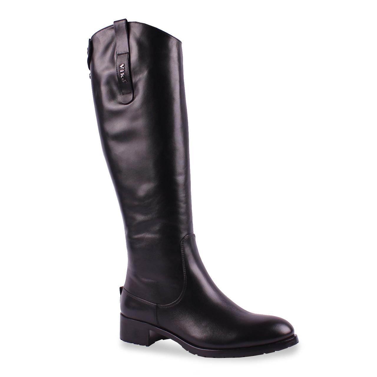 Модные женские сапоги Viko(кожаные, зимние, стильные, на удобной подошве, теплые, черные, на замке)