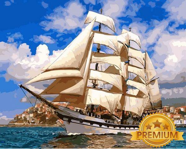 Картины по номерам 40×50 см. Babylon Premium Парусник