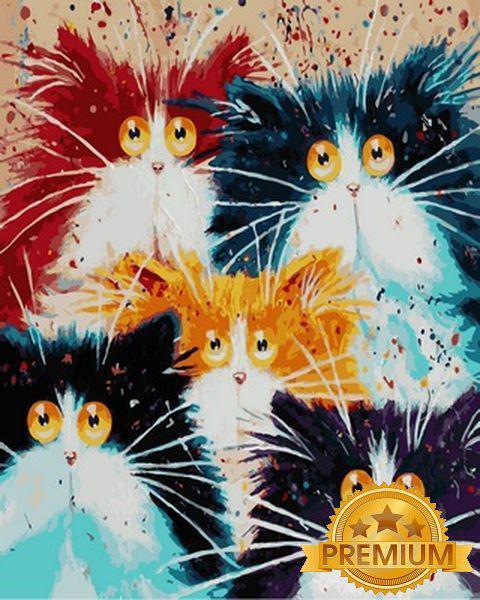 Картины по номерам 40×50 см. Babylon Premium (цветной холст + лак) Пушистое семейство Художник Ким Хаскинс
