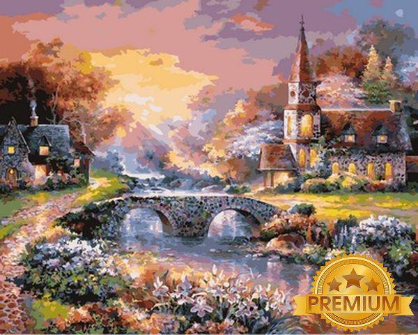 Картины по номерам 40×50 см. Babylon Premium Мост через реку