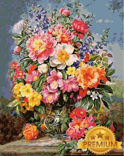 Картины по номерам 40×50 см. Babylon Premium Красочный букет с пионами в стеклянной вазе