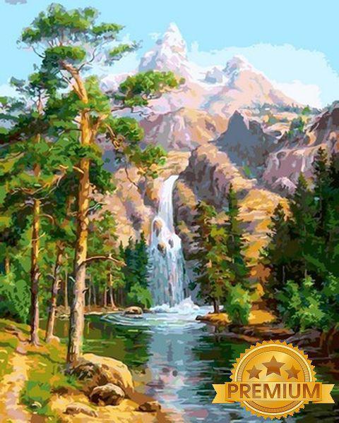 Картины по номерам 40×50 см. Babylon Premium (цветной холст + лак) Горный водопад