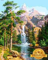 Картины по номерам 40×50 см. Babylon Premium (цветной холст + лак) Горный водопад, фото 1
