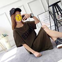 Повседневное платье-футболка с надписью... S-M-L