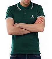 Стильная мужская футболка поло с логотипом Ястребь темно-зеленого цвета