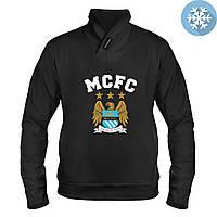 Толстовка утепленная с принтом Манчестер Сити (черная)