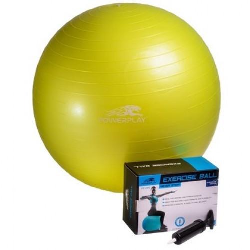 Мяч гимнастический 65 см + насос PowerPlay / 4001 / желтый