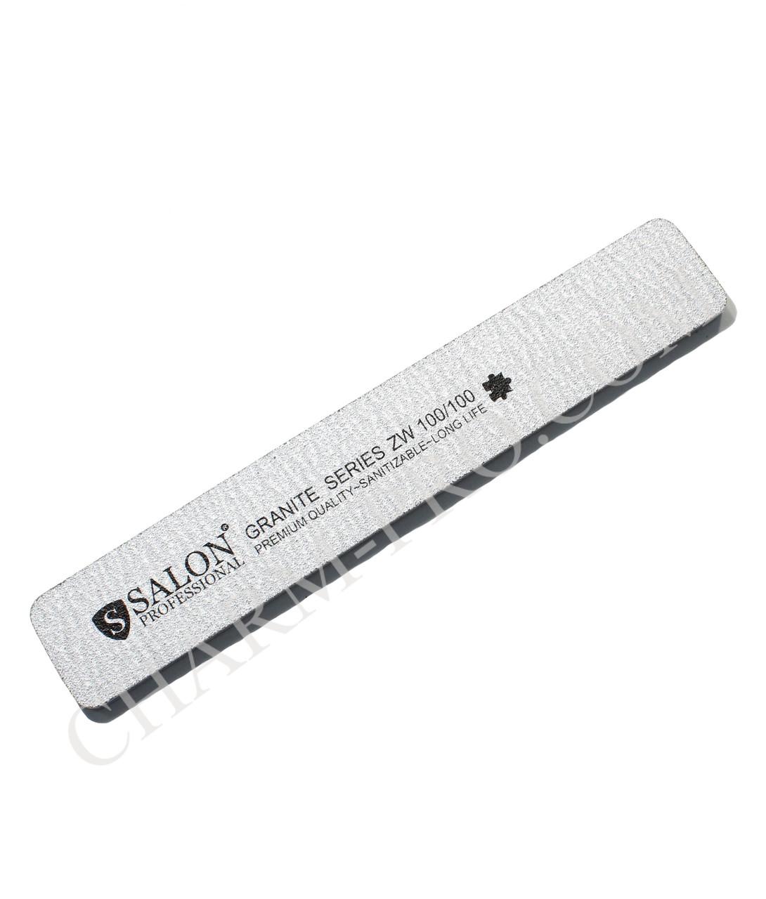 Пилка для ногтей Салон Salon 100/100 широкая серая