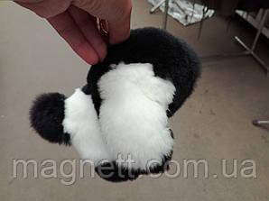 Меховой-брелок собачка черно-белый из натурального меха кролика