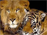 Картины по номерам 40×50 см. Лев и тигр, фото 1