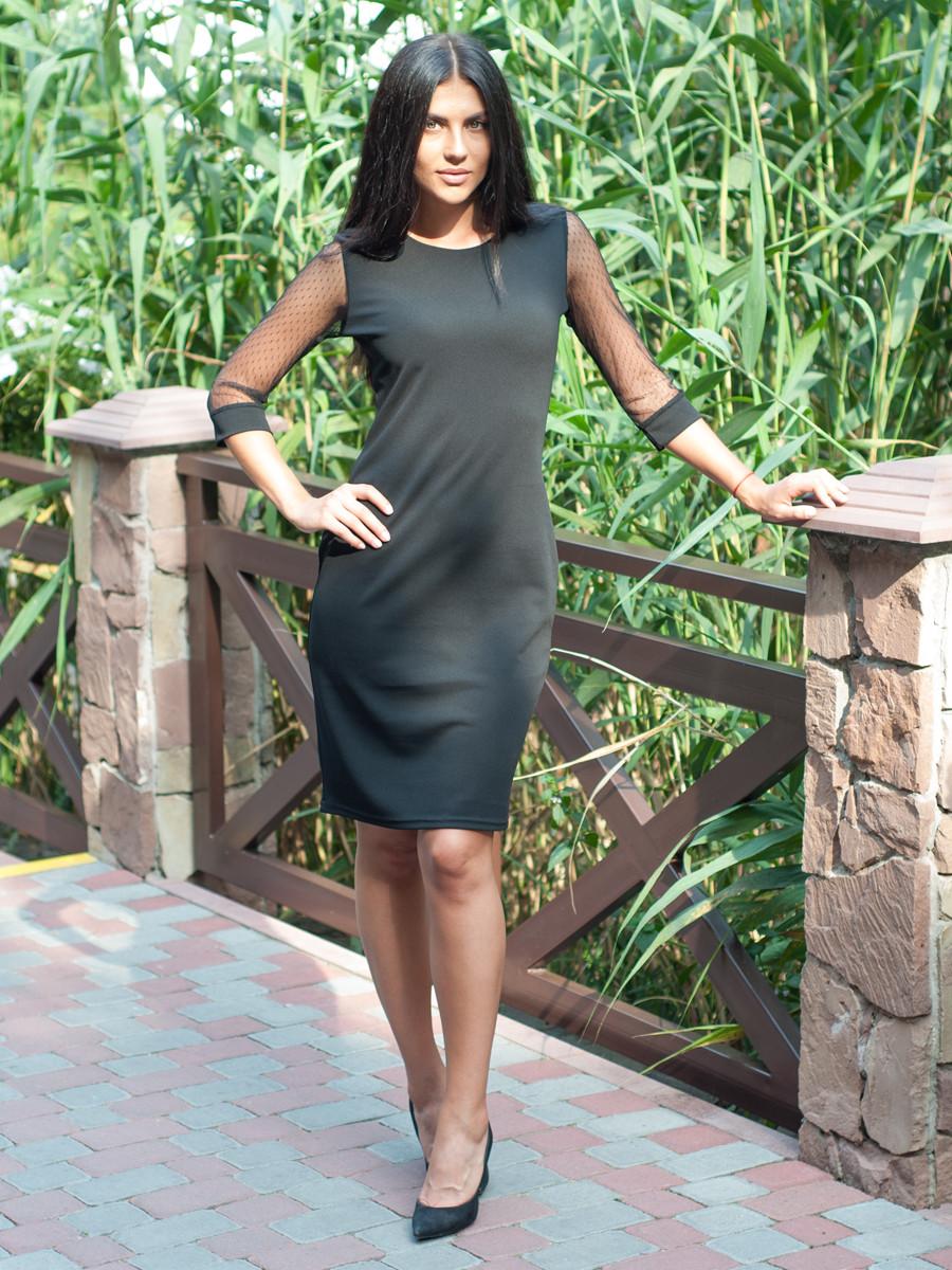 Чорне жіноче плаття по коліно 46, 50