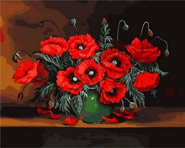 Картины по номерам 40×50 см. Красные маки Художник Чеслав Швайкош