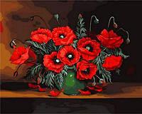 Картины по номерам 40×50 см. Красные маки Художник Чеслав Швайкош, фото 1