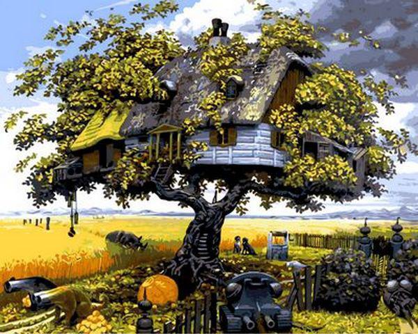 Картины по номерам 40×50 см. Дом на дереве