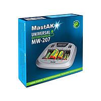Универсальное зарядное устройство MastAK MW-207 с ЖК-дисплеем для ААА; АА; С; D; 9В (крона)