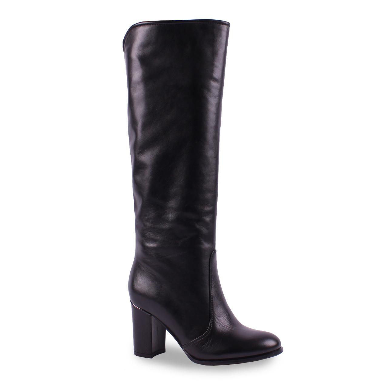 Модные женские сапоги Viko (кожаные, зимние, черные, на каблуке, теплые, на замке)