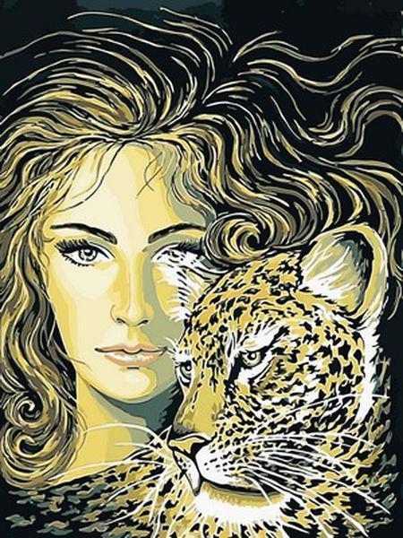 Картины по номерам 30×40 см. Девушка и леопард