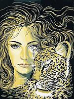 Картины по номерам 30×40 см. Девушка и леопард, фото 1