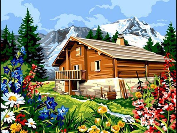 Картины по номерам 30×40 см. Лето в горах