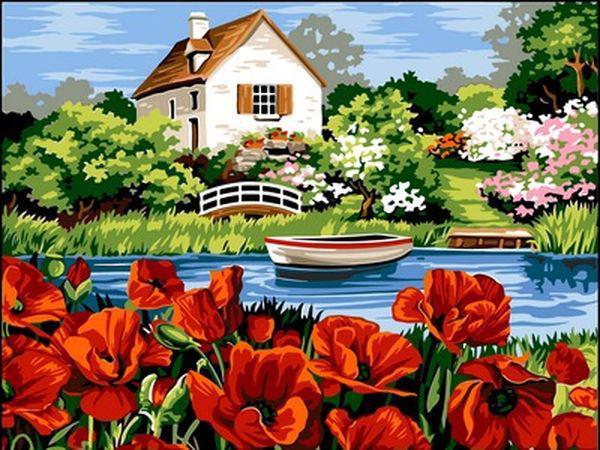 Картины по номерам 30×40 см. Озеро с маками