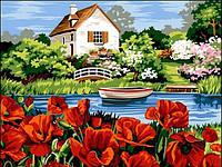 Картины по номерам 30×40 см. Озеро с маками, фото 1