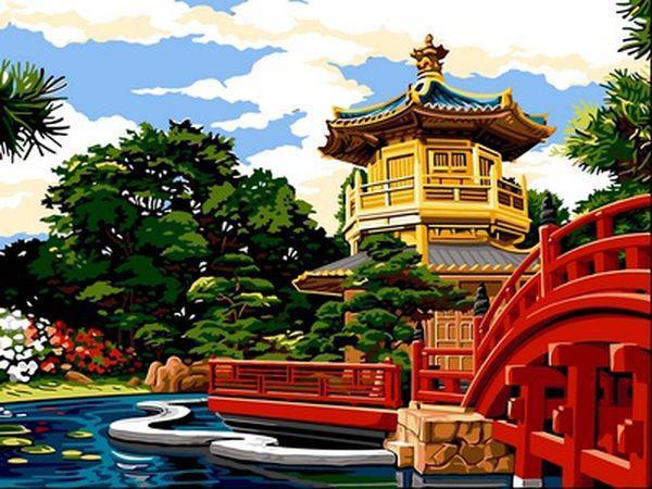 Картины по номерам 30×40 см. Женский монастырь Чи Лин и Сад Нан Лиан