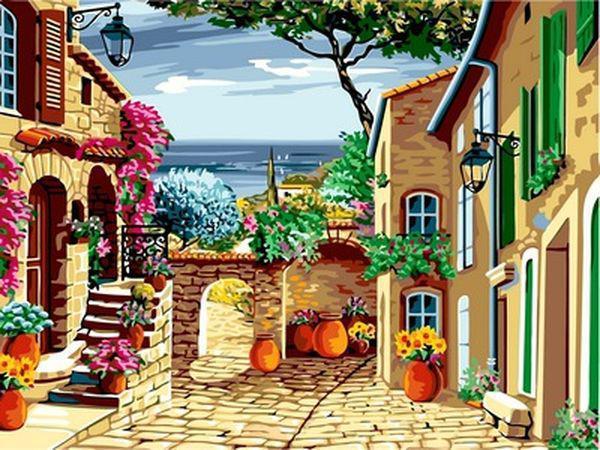 Картины по номерам 30×40 см. Уютный дворик Прованс Франция