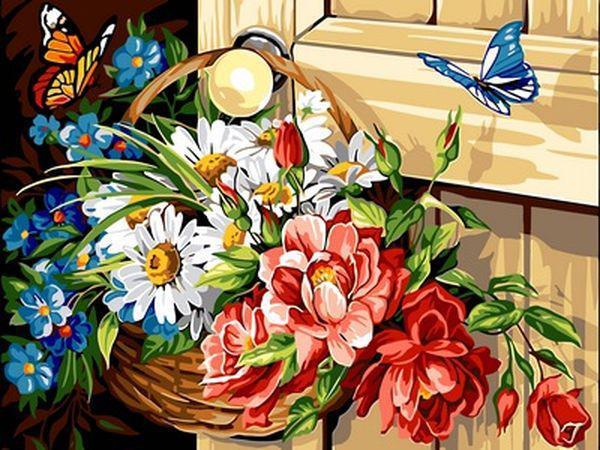 Картины по номерам 30×40 см. Корзина с цветами