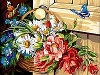 Картины по номерам 30×40 см. Корзина с цветами, фото 1