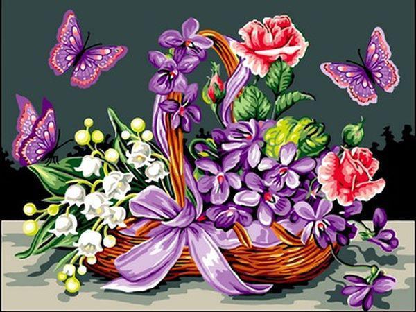 Картины по номерам 30×40 см. Цветы в корзинке и бабочки