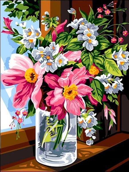 Картины по номерам 30×40 см. Утренние цветы