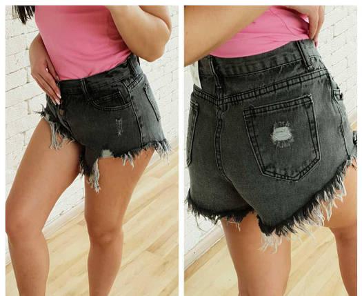 Літні короткі джинсові шорти з застібкою на гудзиках 44-48 р, фото 2