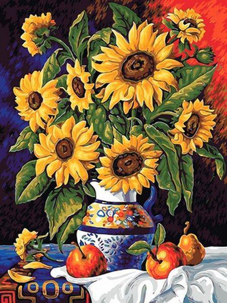 Картины по номерам 30×40 см. Натюрморт с подсолнухами