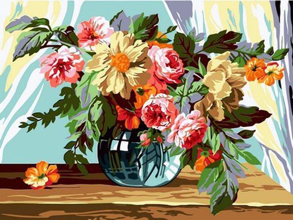 Картины по номерам 30×40 см. Букет в вазе