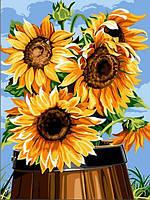 Картины по номерам 30×40 см. Подсолнухи в бочонке